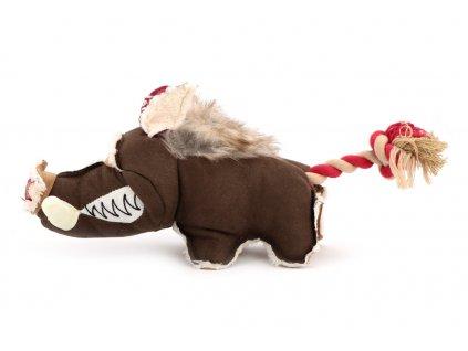 Pískací hračka pro psy od DOG FANTASY – plyšový divočák. Kombinace drsného vzhledu, hebkého plyše a provazu. Velikost 35 cm.