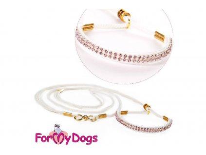 Výstavní/předváděcí vodítko pro psy od ForMyDogs. Délka 135 cm, nastavitelný nákrčník, barva bílá s růžovými kamínky.