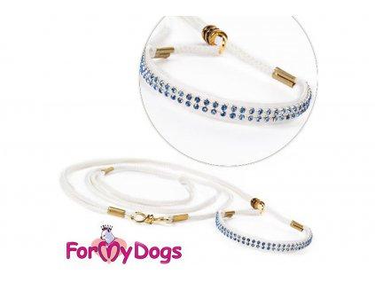 Výstavní/předváděcí vodítko pro psy od ForMyDogs. Délka 135 cm, nastavitelný nákrčník, barva bílá s modrými kamínky.