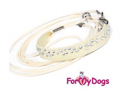 Výstavní/předváděcí vodítko pro psy od ForMyDogs. Délka 135 cm, nastavitelný nákrčník, barva béžová s bílými kamínky.