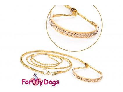 Výstavní/předváděcí vodítko pro psy od ForMyDogs. Délka 120 cm, nastavitelný nákrčník, barva zlatá s béžovými kamínky.