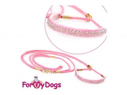 Výstavní/předváděcí vodítko pro psy od ForMyDogs. Délka 120 cm, nastavitelný nákrčník, barva růžová s růžovými kamínky.