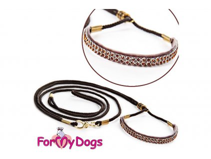 Výstavní/předváděcí vodítko pro psy od ForMyDogs. Délka 120 cm, nastavitelný nákrčník, barva čokoládová s hnědými kamínky.