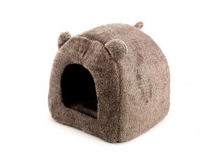 Domeček/bouda pro kočky a malé psy v originálním designu. Měkoučký příjemný materiál, vyjímatelný polštář, rozměry 40 × 40 × 40 cm. Barva hnědá.