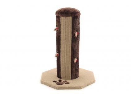 Zábavné škrábadlo pro kočky se sloupkem vykládaným heboučkým plyšem i kobercovinou a šesti ukrytými hračkami. Rozměry 40 × 40 × 55 cm.