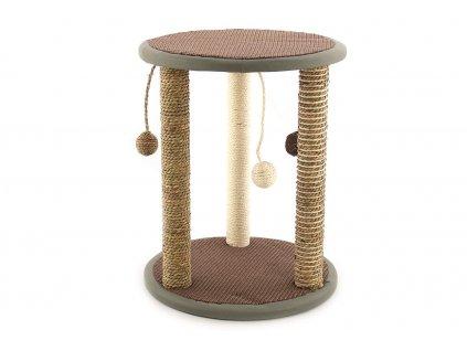 Oblíbené škrábadlo pro kočky se třemi sloupky s opletem z přírodní mořské trávy, třemi hračkami a dvěma plošinami. Rozměry 40 × 50 cm.
