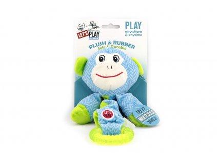 Hračka pro psy od LETS PLAY – elastická opice. Vyrobená z pevné látky kombinované s gumovým kroužkem, délka cca 38 cm, pískací.