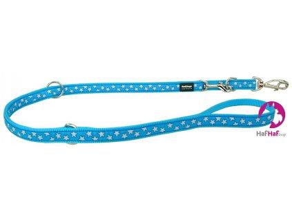 Přepínací vodítko pro psy Stars White on Turquoise – STŘEDNÍ