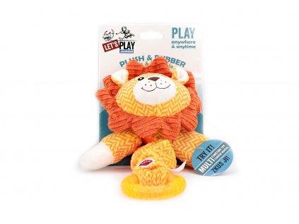 Hračka pro psy od LETS PLAY – elastický lev. Hračka je vyrobená z pevné látky kombinované s gumovým kroužkem, délka cca 38 cm, pískací.