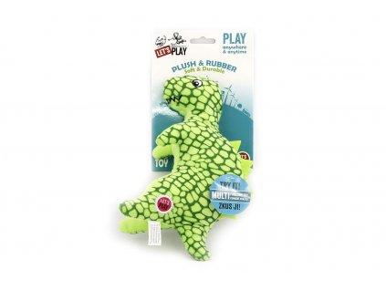 Hračka pro psy od LETS PLAY – dinosaurus. Hračka je vyrobená z měkoučké látky kombinované s gumovými výstupky, délka cca 24 cm, pískací.
