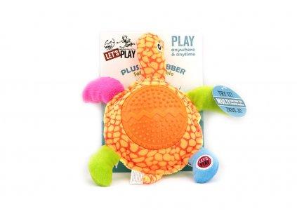 Hračka pro psy od LETS PLAY – želva. Hračka je vyrobená z měkoučké látky kombinované s gumovými výstupky, délka cca 24 cm, pískací.