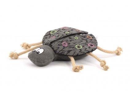 Originální hračka pro psy – brouk. Hračka je vyrobená z pevné látky kombinované s provazy, délka cca 24 cm (bez nožiček), pískací.
