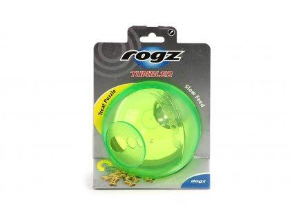 Interaktivní hračka pro psy od ROGZ – míček na pamlsky TUMBLER. Hračka má tři stupně obtížnosti a dokáže vašeho psa spolehlivě zaměstnat na dlouhou dobu.
