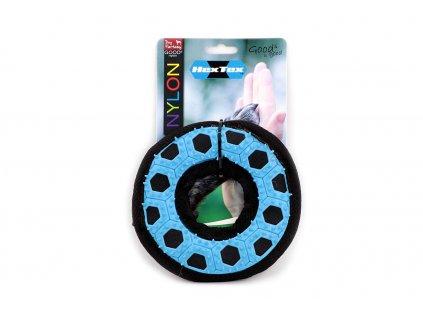 Kousací a aportovací hračka pro psy – kroužek z kombinace balistického nylonu a odolné gumy s výstupky, která při hře přirozeně masíruje dásně.