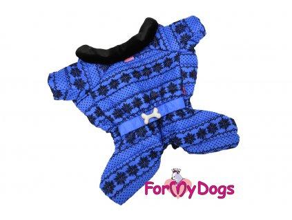 Obleček pro psy – teplý zimní overal BLUE SNOWFLAKE od ForMyDogs z voduodpuzujícího materiálu s kožešinovou podšívkou. Zapínání na druky na bříšku.