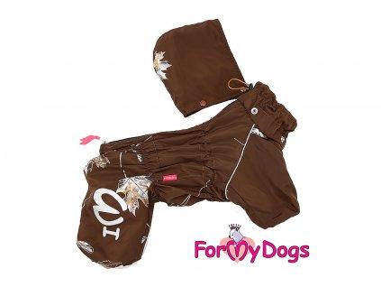 Obleček pro psy – teplý zimní overal GOLDEN LEAFod ForMyDogs. Vylepšené zapínání na zádech, odnímatelná kapuce, rukávy s vnitřní manžetou.