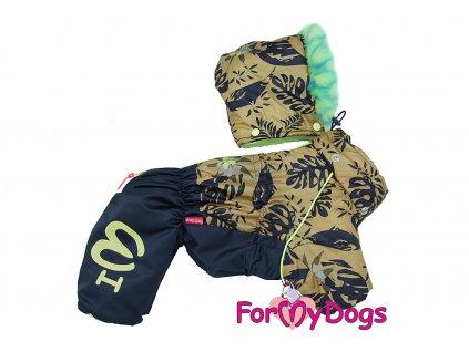 Obleček pro psy – teplý zimní overal LEAVES od ForMyDogs. Vylepšené zapínání na zádech, kožešinová podšívka, odnímatelná kapuce, rukávy s vnitřní manžetou.