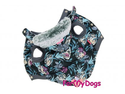Obleček pro psy i fenky od FMD – teplá zimní bunda TIGERS z voduodpuzujícího materiálu s jemnou kožešinovou podšívkou. Zapínání na druky na bříšku.