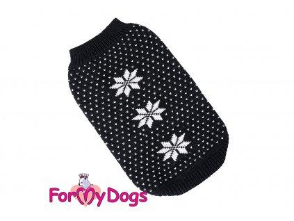 Obleček pro psy i fenky – stylový a teplý svetr BLACK SNOWFLAKE od ForMyDogs. Materiál 100% akryl, zdobený klasickým norským vzorem.