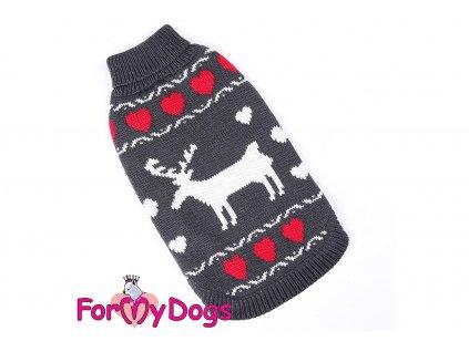 Obleček pro psy i fenky – stylový a teplý svetr GREY REINDEER od ForMyDogs. Materiál 100% akryl, zdobený klasickým norským vzorem.