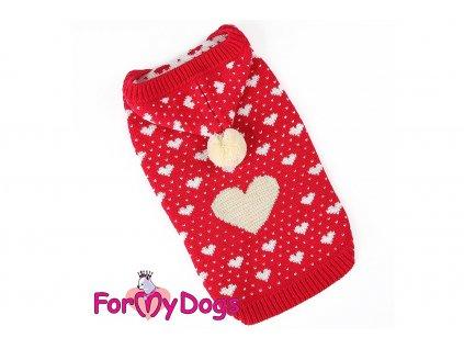 Obleček pro psy i fenky – stylový a teplý svetr RED HEARTS od ForMyDogs. Materiál 100% akryl, zdobený klasickým norským vzorem. Barva červená.