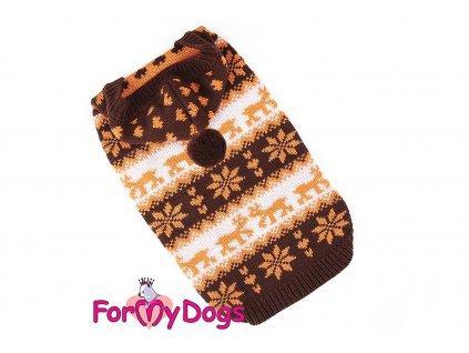 Obleček pro psy i fenky – stylový a teplý svetr s kapucí BROWN ALPIN od ForMyDogs. Materiál 100% akryl, zdobený klasickým norským vzorem. Barva hnědo-bílá.