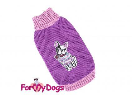 Obleček pro psy i fenky – stylový a teplý svetr PURPLE FRENCHIE od ForMyDogs. Materiál 100% akryl, zdobený aplikací s francouzským buldočkem. Barva fialová.