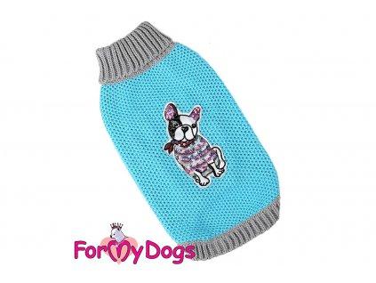 Obleček pro psy i fenky – stylový a teplý svetr TURQUOISE FRENCHIE od ForMyDogs. Materiál 100% akryl, zdobený aplikací s francouzským buldočkem. Barva tyrkysová.