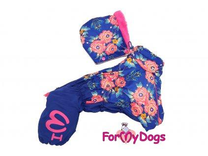 Obleček pro fenky – teplý zimní overal FLOWERS IN BLUE od ForMyDogs. Plyšová podšívka, vylepšené zapínání na zádech, odnímatelná kapuce, rukávy s vnitřní manžetou.