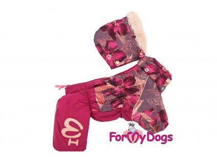 Obleček pro fenky – teplý zimní overal ORCHID FLOWER od ForMyDogs. Vylepšené zapínání na zádech, odnímatelná kapuce, rukávy s vnitřní manžetou.