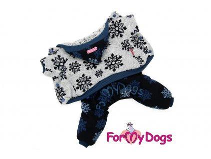 Obleček pro psy i fenky – teplejší žakárový overal od For My Dogs s kožešinovou podšívkou. Zapínání na druky na břiše, pružné lemy. Barva modro-šedá.