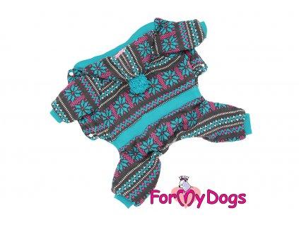 Obleček pro psy i fenky – teplejší overal od For My Dogs z žakárového úpletu s velurovou podšívkou. Zapínání na druky na břiše, pružné lemy.
