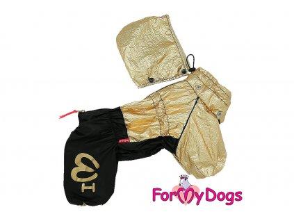 Obleček pro fenky malých až středních plemen – pláštěnka FMD GOLD – nový super komfortní a funkční model. Zapínání na zip na zádech, odepínací kapuce, barva zlatá.