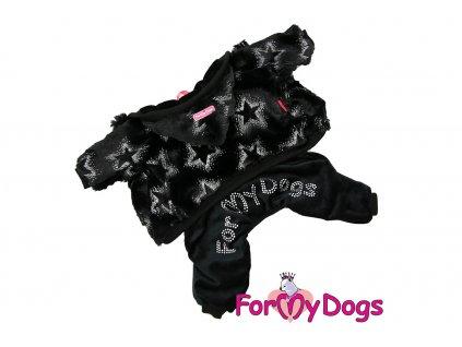 Obleček pro psy i fenky – měkoučký overal BLACK STARS od ForMyDogs. Flísová bunda a velurové kalhoty, vhodný do suchého chladného počasí. Barva černá.