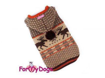 Obleček pro psy i fenky – stylový a teplý svetr s kapucí a podšívkou BROWN REINDEER od ForMyDogs. Materiál 100% akryl, podšívka z umělé kožešinky.