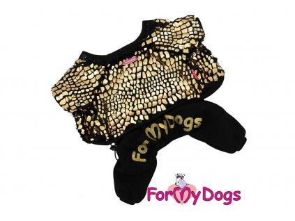 Obleček pro psy i fenky – stylový overal BROWN AND GOLDEN od ForMyDogs. Flísová bunda a velurové kalhoty, vhodný do suchého chladného počasí. Černo-zlatý.