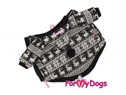 Obleček pro psy i fenky od FMD – teplá zimní bunda BLACK SCANDI ze žakárového úpletu s kožešinovou podšívkou. Zapínání na zip na bříšku, barva černo-bílá.