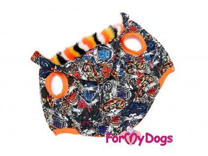 Obleček pro psy i fenky středních a větších plemen TIGER od FMD – zimní bunda z voduodpuzujícího materiálu s kožešinovou podšívkou.