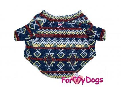 Obleček pro psy i fenky středních a velkých plemen – mikina ETHNO od For My Dogs z jednovrstvé plyšové kožešinky. Volné rukávy pro snadné oblékání, zapínání na břiše.