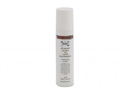 Přírodní čokoládový a vanilkový šampón pro psy, který zvlhčuje pokožku, účinně čistí srst a zanechává ji lesklou a hedvábně hladkou. Objem 300 ml.