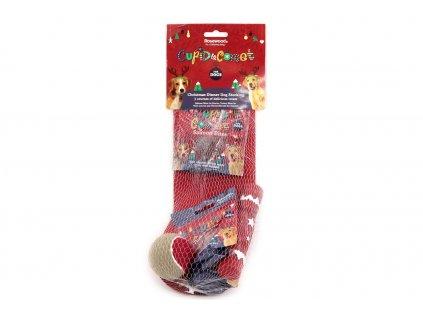 Dárkový balíček pro psy v originálním vánočním balení k zavěšení od ROSEWOOD. Balíček obsahuje tři druhy balených pamlsků a dvě hračky.