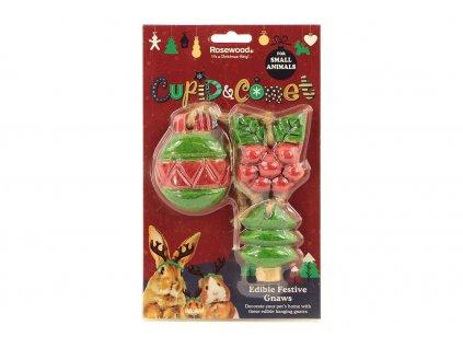 Sváteční pamlsky pro hlodavce v originálním vánočním balení od ROSEWOOD – tři druhy okusovacích pamlsků z jedlého dřeva.