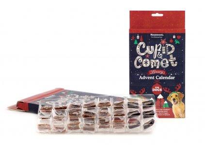 Adventní kalendář pro psy od ROSEWOOD LUXURY plný pochoutek ze sušeného masa – 24 ks, na každý den jedna. Balení 120 g.