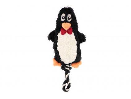 Hračka pro psy od ROSEWOOD – plyšový tučňák. Vyrobená z měkoučké látky kombinované s provazem, velikost cca 36 cm.