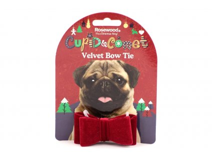 Stylový sváteční doplněk všech psích gentlemanů – motýlek z červeného sametu. Připevňuje se na obojek, nijak psy netlačí ani neomezuje.