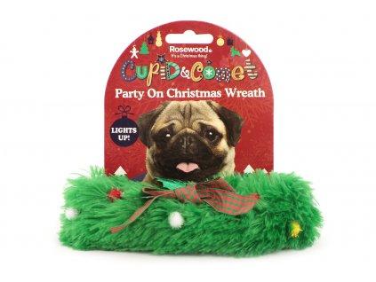 Stylový sváteční doplněk všech psích gentlemanů – zelený párty obojek. Zapínání na suchý zip, pro psy s obvodem krku do 30 cm.