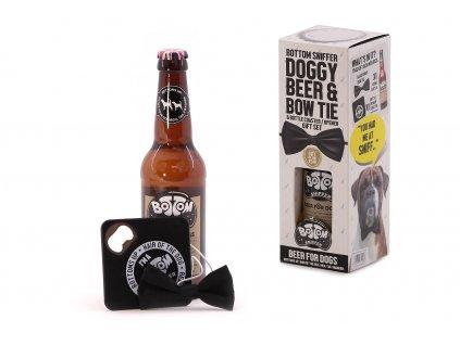 Nealkoholické pivo pro psy obohacené vitamíny, minerály a pampeliškou, podtácek s otvírákem a stylový černý motýlek pro psy. Dárkové balení.