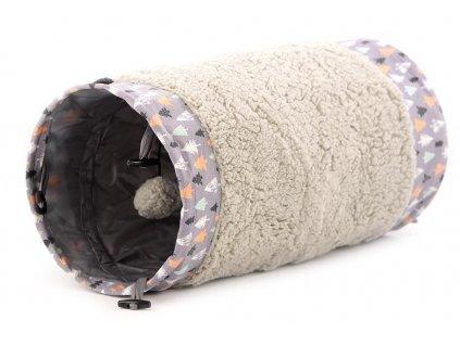 Hračka a úkryt pro kočky s vánočním motivem – 50 cm délka, kožešinka z vnější strany, zavěšená hračka.
