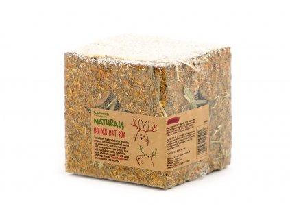 Chutná kostka pro hlodavce celá vyrobená ze 100% jedlých přírodních materiálů.