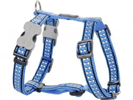 Reflexní postroj pro psa, středně modrý
